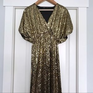 ASOS Dresses - ASOS | First and I - Gold Sequin Party Maxi Dress